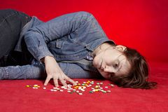 Suicide. Overdose of medicine. Royalty Free Stock Image