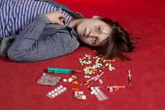Suicide. Overdose of medicine. Royalty Free Stock Photography