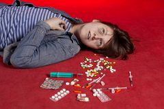 Suicide. Overdose of narcotic. Royalty Free Stock Photo