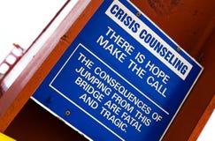 Golden Gate Bridge Crisis Counselling Sign. Suicide Prevention Sign, Golden Gate Bridge, San Francisco, California, USA Stock Photos