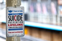 Suicide prevention in the subway station royalty free stock images
