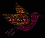 Suicide Word Cloud. On a black background Stock Photography