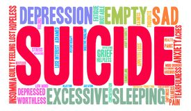 Suicide Word Cloud. On a white background Stock Photography