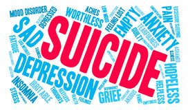 Suicide Word Cloud. On a white background Royalty Free Stock Image