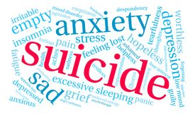 Suicide Word Cloud. On a white background Royalty Free Stock Photo