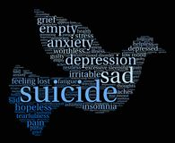 Suicide Word Cloud. On a white background Stock Photos
