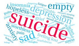 Suicide Word Cloud. On a white background Stock Images