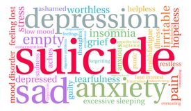 Suicide Word Cloud. On a white background Royalty Free Stock Images