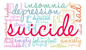 Suicide Word Cloud. On a white background Stock Image
