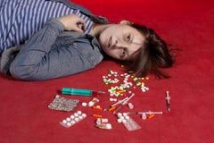 Suicidio. Dose eccessiva di medicina. Fotografia Stock Libera da Diritti