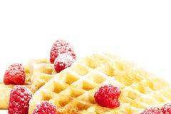 Suiker behandelde frambozen op wafels Royalty-vrije Stock Fotografie