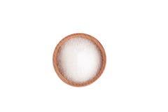 Suiker in de houten kom Stock Afbeeldingen