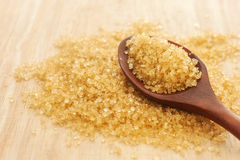 Suiker in een houten lepel, Selectieve nadruk Stock Fotografie