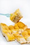 Suiker en botertoost tegen achtergrond Stock Foto
