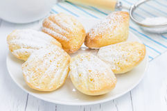 Suiker gepoederde madeleines op de witte plaat Royalty-vrije Stock Afbeeldingen