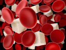 Suiker in het bloed bloedcel met kubus van suiker, 3d Illustratie vector illustratie