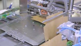 Suiker in pakken op de transportband in de fabriek stock footage