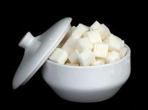 Suiker van een biet in een suiker-kom Stock Afbeelding