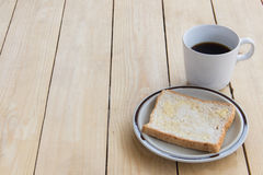 Suikerbrood en hete koffie Royalty-vrije Stock Foto's