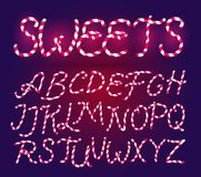 Suikergoed Cane Font Zoete grappige Alfabetreeks Geïsoleerde Van letters voorziend malplaatje Roze Suikerjonge geitjes De vectori stock illustratie