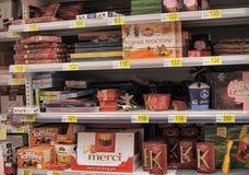 Suikergoed in de supermarkt Royalty-vrije Stock Foto's