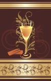 Suikergoed en glas met champagne. Het verpakken Royalty-vrije Stock Foto