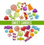 Suikergoed en van karamelsnoepjes affiche voor banketbakkerij of suikergoedwinkel vector illustratie
