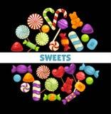 Suikergoed en van karamelsnoepjes affiche voor banketbakkerij of suikergoedwinkel royalty-vrije illustratie