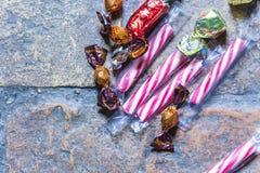 Suikergoed op een ruwe vlakte Stock Afbeeldingen