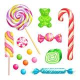 suikergoed op witte achtergrond wordt geïsoleerd die Vector geplaatste dessertspictogrammen en ontwerpelementen royalty-vrije illustratie