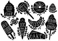 Suikergoed vastgestelde vectorillustratie Vorm cupcake, roomijs, doughnut, popcicle, cottoncandt, lolly, croissant De hand van he vector illustratie