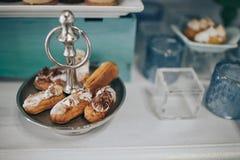 Suikergoedbar Lijst met snoepjes, suikergoed, dessert stock foto