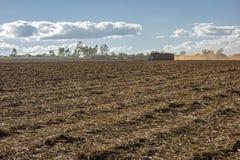 suikerrietgebied met een vrachtwagen dragende oogst royalty-vrije stock afbeeldingen