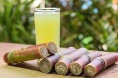 Suikerrietsap met stuk van suikerriet op houten achtergrond stock foto