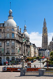 Suikerrui and Cathedral in Antwerp, Belgium Royalty Free Stock Photos