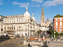 Suikerrui e cattedrale a Anversa, Belgio Immagine Stock