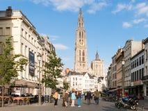 Suikerrui e cattedrale a Anversa, Belgio Fotografia Stock