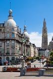 Suikerrui och domkyrka i Antwerp, Belgien Royaltyfria Foton