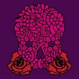 Suikerschedel en rozen Royalty-vrije Stock Foto's