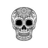 Suikerschedel met bloemenornament, de zwart-witte vectorillustratie van Dia de Muertos Royalty-vrije Stock Fotografie