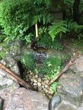 Suikinkutsu, o 'cueva del koto del agua ', en el jardín botánico de Kyoto en verano imagen de archivo