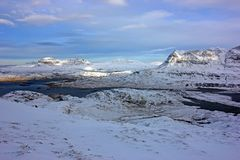 Suilven in the snow from Stac Pollaidh stock photography