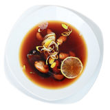 Suimono soup top view Royalty Free Stock Images