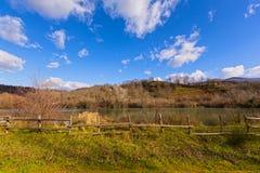 Suio Latina, Italië - de rivier Garigliano Royalty-vrije Stock Afbeeldingen