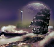 Ship reaching the coast under a big Moon. Seascape showing a sailboat reaching the coast, close to an ocean with big waves, a lighthouse on the rocks, and a big vector illustration