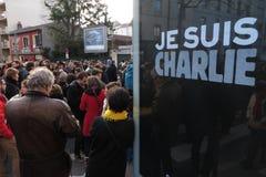 Suis Charlie de Je e a demonstração em Lyon imagens de stock