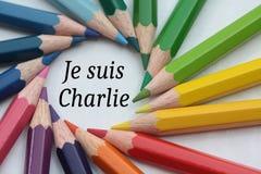 Suis Charlie de Je, lápis coloridos Imagens de Stock Royalty Free