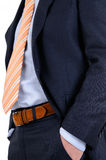 Suit. Man in blue suit with necktie and belt Stock Photos