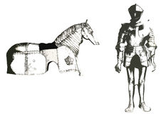 Suit of armor. Knight and horse armor royalty free illustration