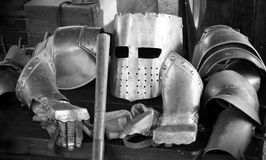 Suit of armour. Black and white image of a knight's suit of armour stock image